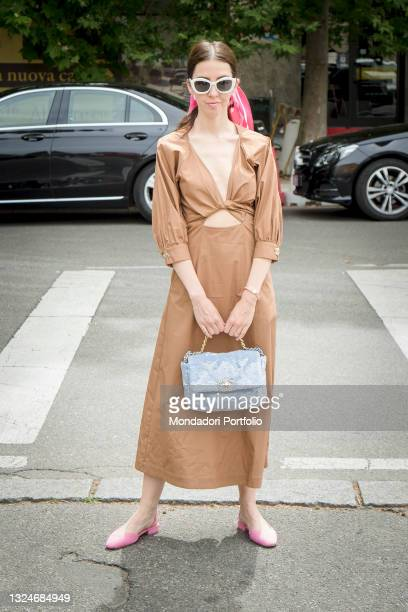 Italian entrepreneur and fashion blogger Samantha De Reviziis guest of the Etro fashion show, one of the few fashion shows in presence at Milan...