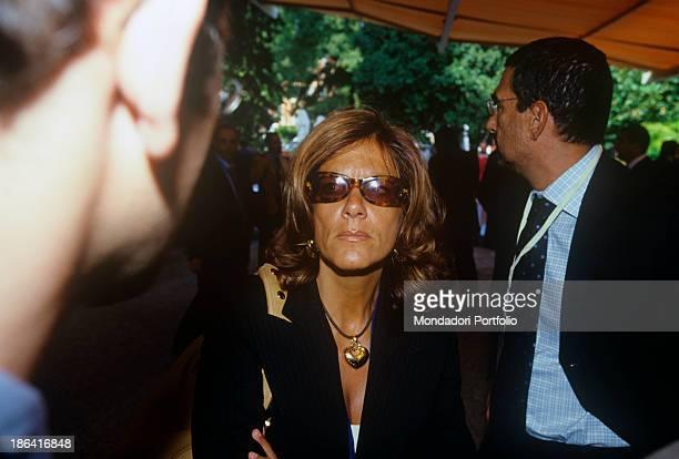 Italian entrepreneur Emma Marcegaglia talking at the Ambrosetti International Forum in Villa d'Este Cernobbio September 2001