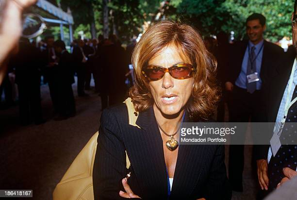 Italian entrepreneur Emma Marcegaglia talking at the Ambrosetti International Forum in Villa d'Este Cernobbio September 2001