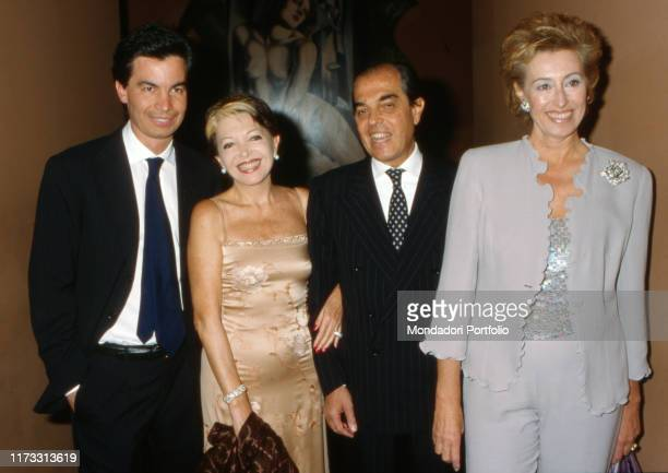 Italian entrepreneur Gian Marco Moratti with his wife Letizia Brichetto politician and manager his sister Bedy actress and his son Angelo Italy 1990s