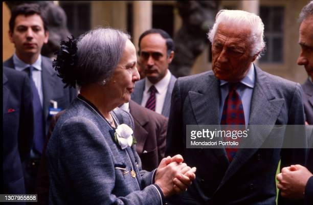 Italian entrepreneur Gianni Agnelli together with Nilde Iotti. Rome , 1990