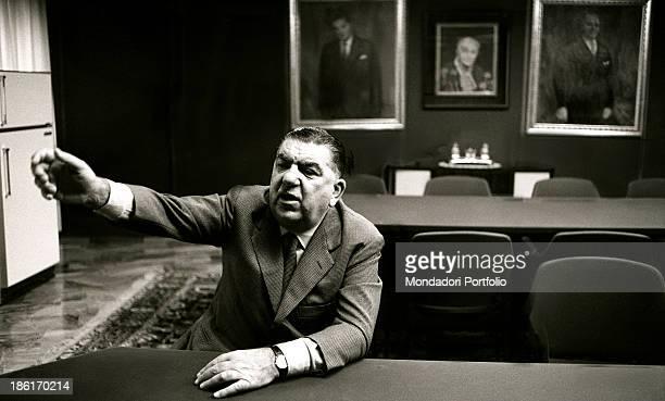Italian entrepreneur Giovanni Borghi sitting at the table Borghi established the Ignis 1966