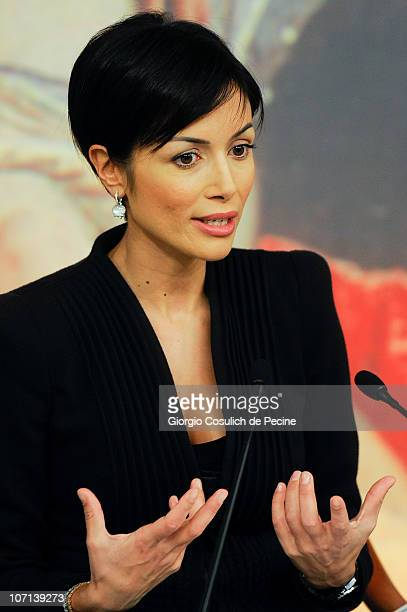Italian Equality minister Mara Rosaria Carfagna gestures during a press conference at Chigi Palace to present the European Campaign to 'End Female...