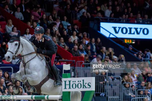 Italian equestrian Emanuele Gaudiano on Einstein rides in the Accumulator Show Jumping Competition during the Gothenburg Horse Show in Scandinavium...