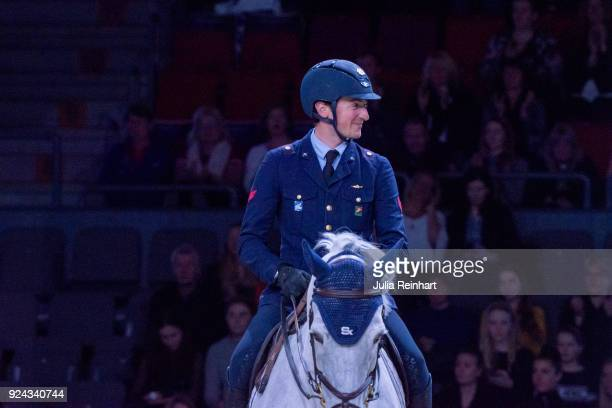 Italian equestrian Lorenzo de Luca on Limestone Grey rides in the Accumulator Show Jumping Competition during the Gothenburg Horse Show in...