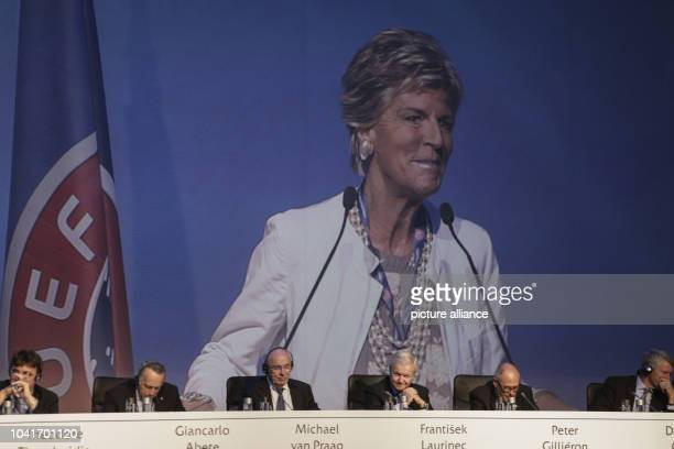Italian Evelina Christillin on the screen after her election as UEFAs female member on the FIFA council at the 12th UEFA extraordinary congress in...