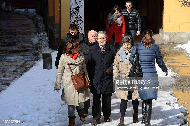 Italian ex Premier Romano Prodi go to voting station with his wife Flavia Franzoni and Democratic Party's candidate Sandra Zampa on February 24 2013...