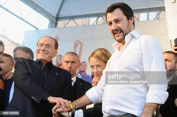 Italian ex prime minister Silvio Berlusconi leader of Forza Italia and Giorgia Meloni leader of Fratelli d'Italia political party and Matteo Salvini...