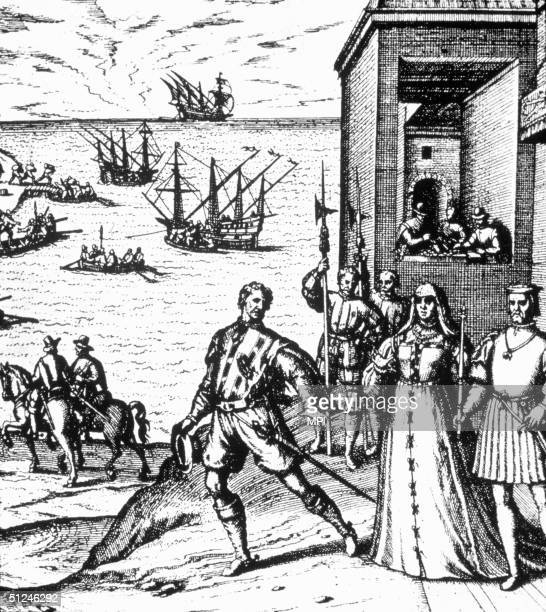 1492 Italian explorer Christopher Columbus saying farewell to Queen Isabella and King Ferdinand before his voyage of discovery to the new world