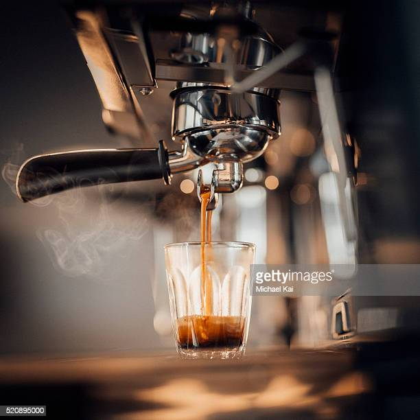 Italian Expresso Coffee machine making a coffee