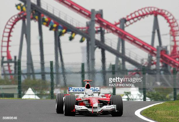 Italian F1 driver Jarno Trulli his Toyota during a free practice session of the Japanese Grand Prix at Suzuka circuit in central Japan 07 October...