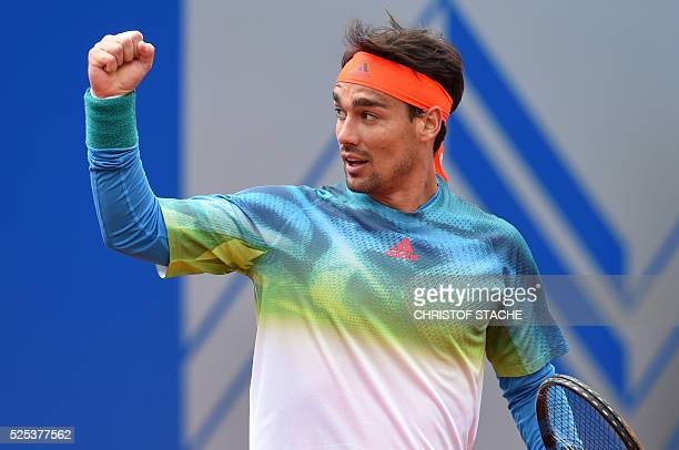 Italian Fabio Fognini reacts during his round of sixteen match against Kazakh Mikhail Kukushkin at the ATP tennis BMW Open in Munich southern Germany...