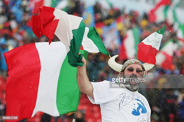 Italian fan comes out to support his national team in the Mens Cross Country Skiing 4x10km Relay Final on Day 9 of the 2006 Turin Winter Olympic...