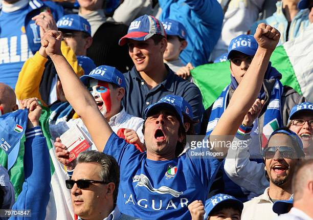 Italian fans celebrate a try during the RBS Six Natiions match between Italy and England at the Stadio Flaminio on February 10 2008 in Rome Italy