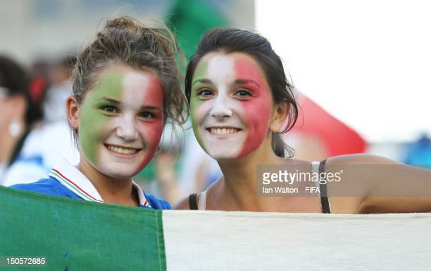 Italian fans during the FIFA U20 Women's World Cup Japan 2012 Group B match between Italy and Korean Republic at Komaba Stadium on August 22 2012 in...