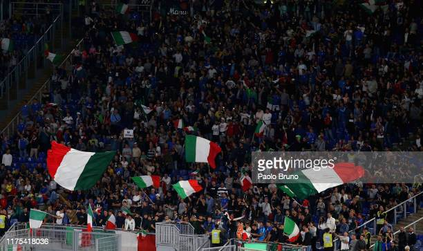 Italian fans during the UEFA Euro 2020 qualifier between Italy and Greece at Stadio Olimpico on October 12, 2019 in Rome, Italy.