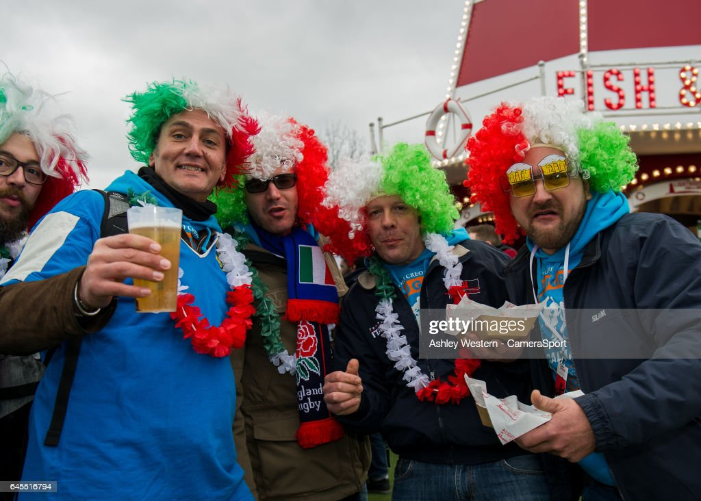 Italian fans enjoying the pre match atmosphere before the RBS Six Nations Championship match between England and Italy at Twickenham Stadium on February 26, 2017 in London, England.