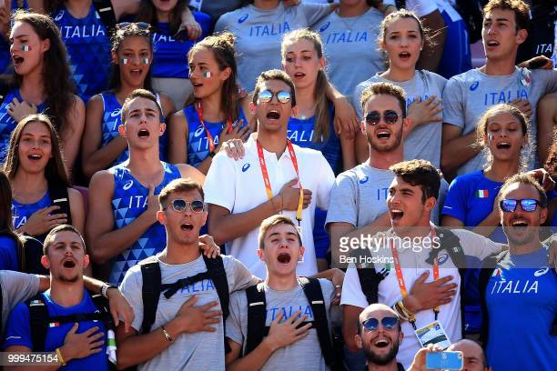 Italian fans sing the national anthem during day six of The IAAF World U20 Championships on July 15 2018 in Tampere Finland