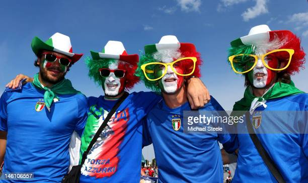 Italian fans soak up the atmopshere ahead of the UEFA EURO 2012 group C match between Spain and Italy at The Municipal Stadium on June 10, 2012 in...