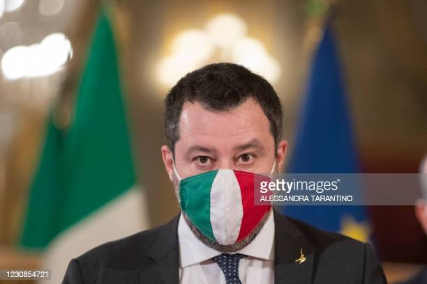 Italian far-right Lega party leader Matteo Salvini addresses the media at the Quirinale presidential palace in Rome on January 29, 2021 following a...