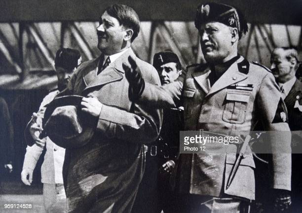 Italian Fascist leader Mussolini welcomes Nazi German leader Adolf Hitler to Venice 1934