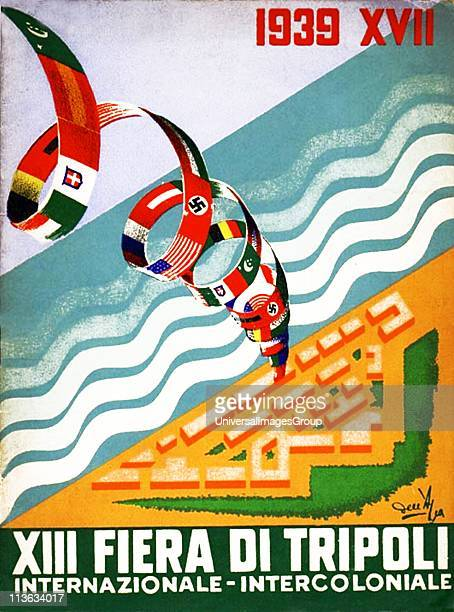 Italian fascist poster celebrating the XIII Tripoli Fair Italy colonised Libya in a period of colonial expansiion during the 1930's