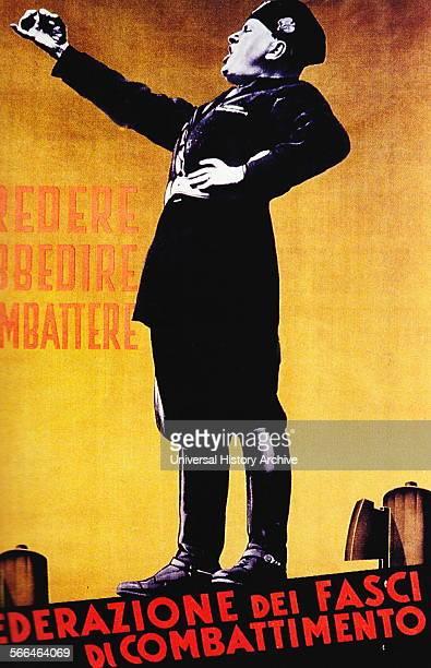Italian Fascist propaganda poster depicting Mussolini 1935