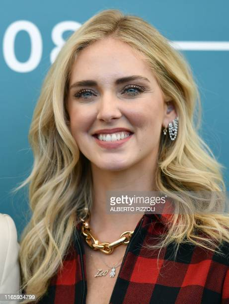 Italian fashion blogger and designer Chiara Ferragni poses during a photocall session on September 4 2019 during the 76th Venice Film Festival at...