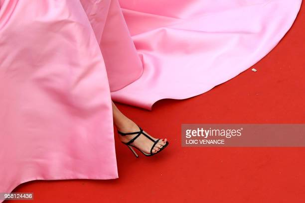 TOPSHOT Italian fashion blogger and stylist Chiara Ferragni arrives on May 13 2018 for the screening of the film Sink Or Swim at the 71st edition of...