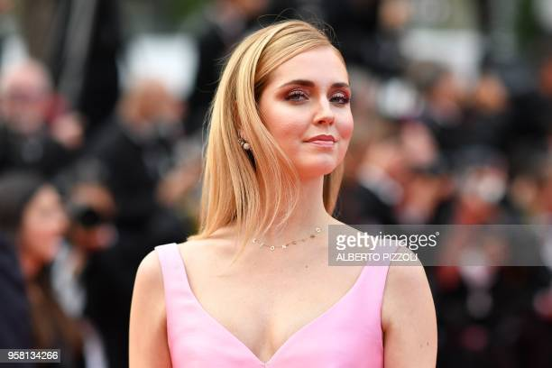 Italian fashion blogger and stylist Chiara Ferragni arrives on May 13 2018 for the screening of the film Sink Or Swim at the 71st edition of the...