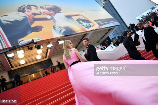 Italian fashion blogger and stylist Chiara Ferragni poses as she arrives on May 13 2018 for the screening of the film Sink Or Swim at the 71st...