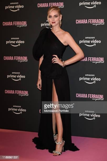 Italian fashion blogger Chiara Ferragni dressed Giambattista Valli and Pomellato jewellery during the premiere of the documentary film Chiara...