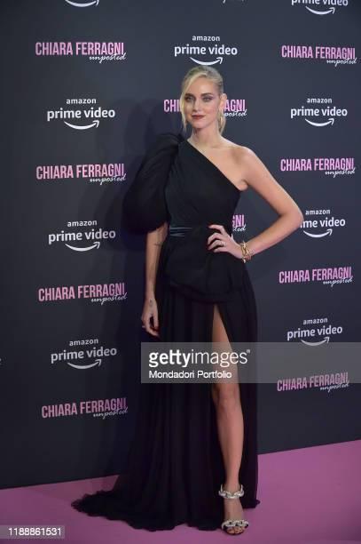 Italian fashion blogger Chiara Ferragni, dressed Giambattista Valli and Pomellato jewellery, during the premiere of the documentary film Chiara...