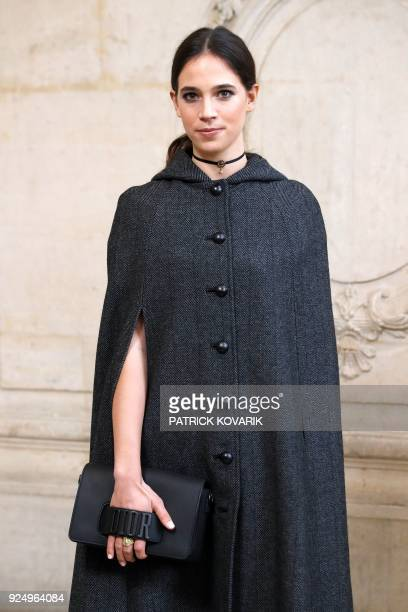 Italian fashion blogger Vera Arrivabene poses for a photocall before the Christian Dior's 2018/2019 fall/winter collection fashion show on February...
