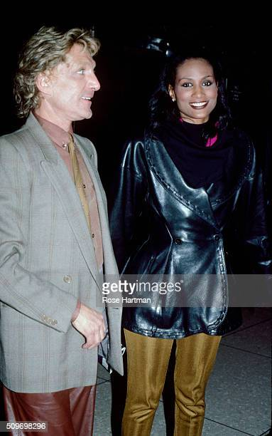 Italian Fashion Clothinghion designer Giorgio di Sant' Angelo and American model Beverly Johnson pose together outside Studio 54 New York New York...