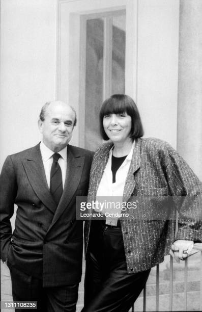 Italian fashion designer and entrepreneur Krizia aka Mariuccia Mandelli with her husband Aldo Pinto, Milan, Italy, circa 1990.