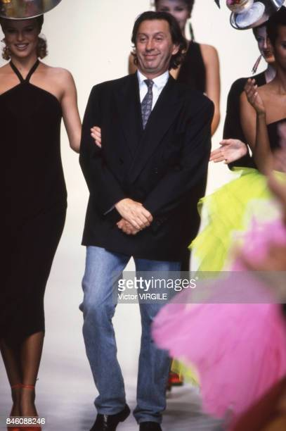 Italian fashion designer Angelo Tarlazzi walks the runway at the Tarlazzi Ready to Wear Spring/Summer 1993 fashion show during the Paris Fashion Week...