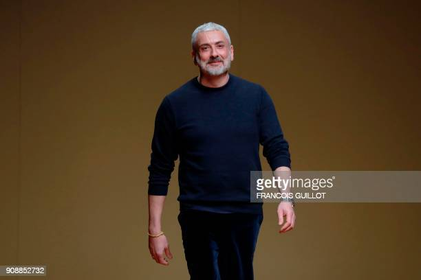 Italian fashion designer Antonio Grimaldi acknowledges the audience at the end of the 2018 spring/summer Haute Couture collection fashion show on...