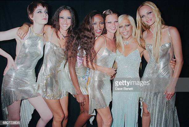 Italian fashion designer Donatella Versace with a group of models at the 'Diamonds Are Forever' fashion show, hosted by De Beers and Versace at Syon...