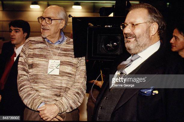 Italian fashion designer Gianfranco Ferre and movie director Robert Altman on the set of his film PrêtàPorter