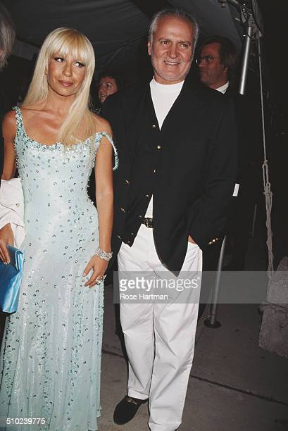 Italian fashion designer Gianni Versace with his daughter Italian fashion designer Donatella Versace 1995