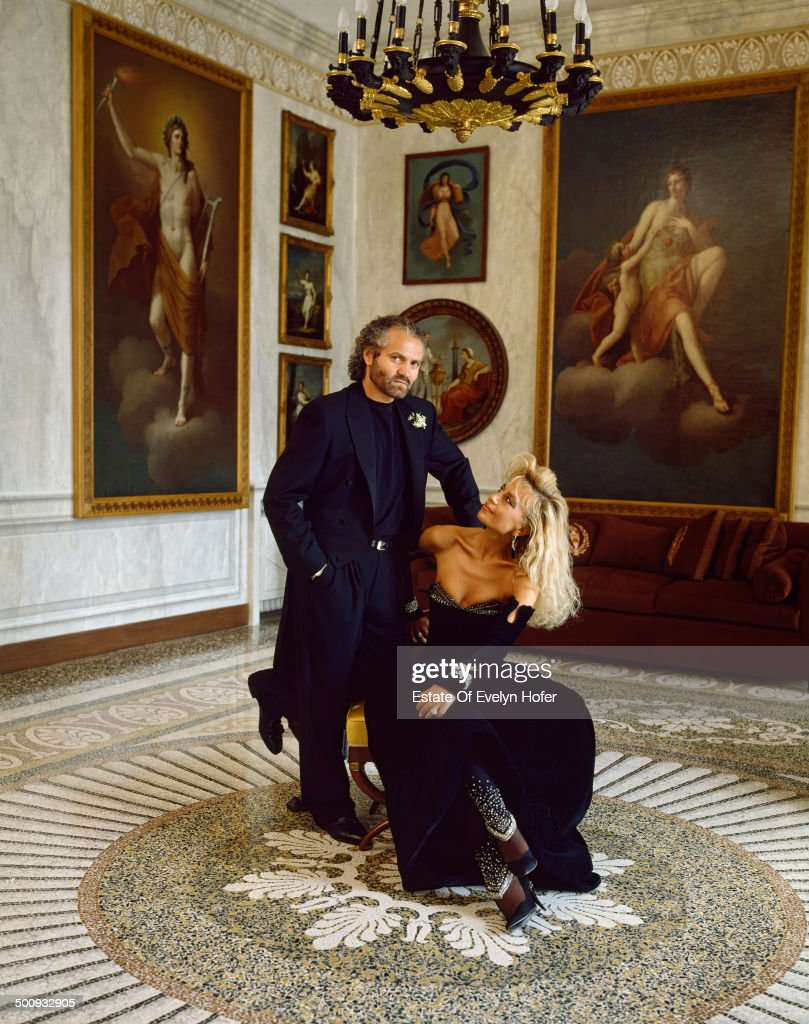 Italian fashion designer Gianni Versace (1946 - 1997) with his sister Donatella Versace, Lake Como, Italy, 1988.