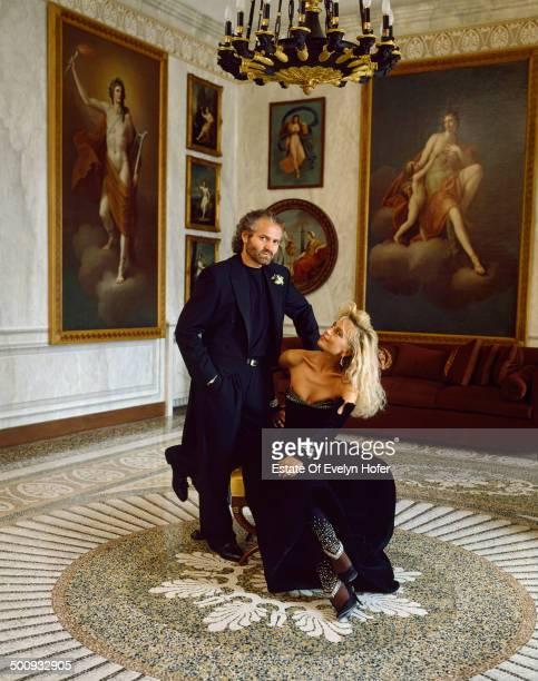 Italian fashion designer Gianni Versace with his sister Donatella Versace Lake Como Italy 1988