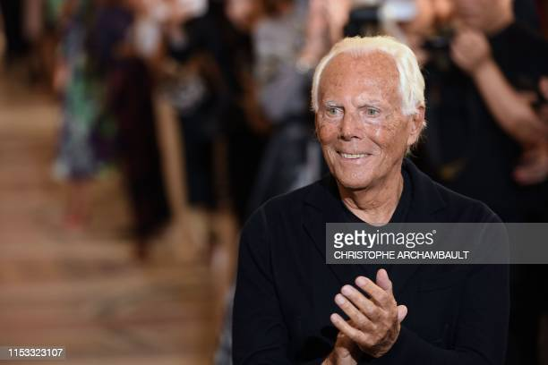 Italian fashion designer Giorgio Armani acknowledges the audience at the end of his Women's FallWinter 2019/2020 Haute Couture collection fashion...