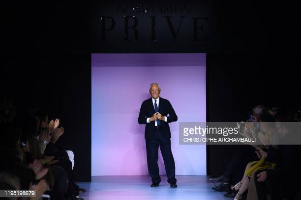 Italian fashion designer Giorgio Armani acknowledges the audience at the end of his Women's Spring-Summer 2020 Haute Couture collection fashion show...