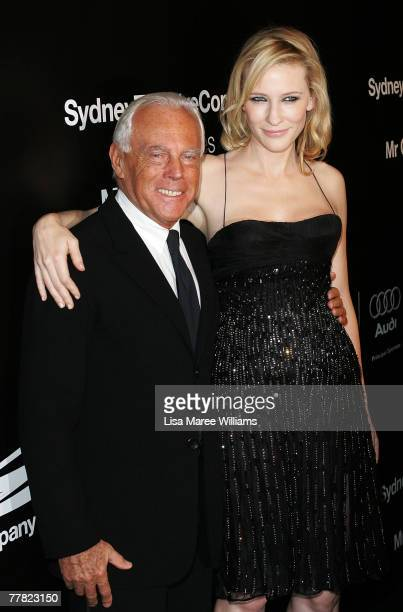Italian fashion designer Giorgio Armani arrives with actress Cate Blanchett at the Sydney Theatre Company patron dinner on November 9, 2007 in...