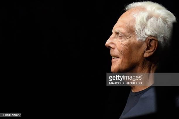 Italian fashion designer Giorgio Armani attends the presentation of fashion house Emporio Armani's men's spring/summer 2020 fashion collection in...