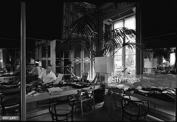 Italian fashion designer Giorgio Armani born in Piacenza in 1935 relaxing at home in Milan