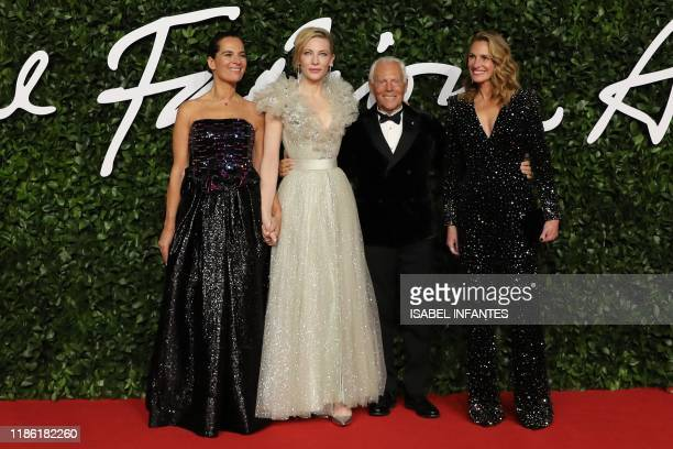 Italian fashion designer Giorgio Armani US actress Julia Roberts and English actress Cate Blanchett poses on the red carpet upon arrival at The...