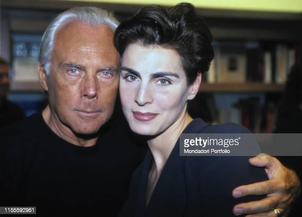 Italian fashion designer Giorgio Armani with Italian model Antonia Dell'Atte 1990s